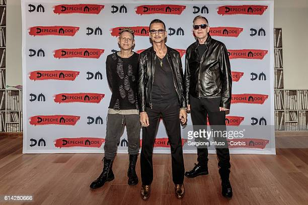 Martin Lee Gore Dave Gahan and Andrew Fletcher of Depeche Mode for a press event on October 11 2016 in Milan Italy