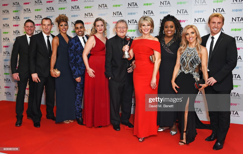 Martin Lewis, Dr Zoe Williams, Dr Ranj Singh, Sharon Marshall, Dr Chris Steele, Ruth Langsford, Alison Hammond, Nik Speakman and Eva Speakman, winners of the Daytime award for 'This Morning', pose in the press room at the National Television Awards 2018 at The O2 Arena on January 23, 2018 in London, England.