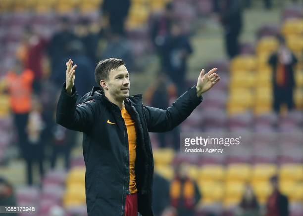 Martin Linnes of Galatasaray greets the fans after winning Turkish Super Lig soccer match between Galatasaray and MKE Ankaragucu at Turk Telekom...