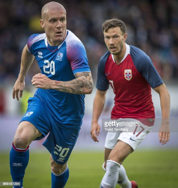 Martin Linnes of Norway Emil Hallfreosson of Iceland during International Friendly between Iceland v Norway at Laugardalsvollur National Stadium on...