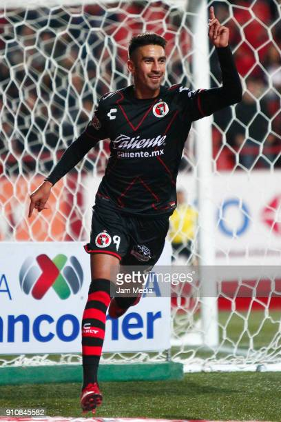 Martin Lucero of Tijuana celebrates after scoring the second goal of his team during the 4th round match between Tijuana and Puebla as part of the...