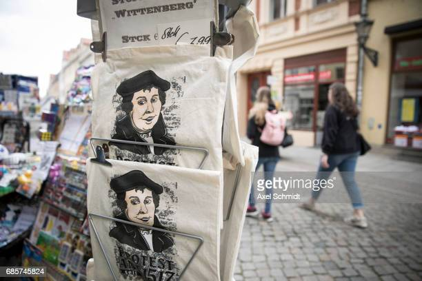 Martin Luther bags seen on May 20 2017 in Wittenberg Germany Wittenberg and Berlin are hosting a church congress next week to celebrate the 500th...