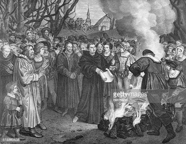 Martin Luther burning the Papal Bull 1521 Luther a German religious reformer was excommunicated by Pope Leo X and publicly burned the excommunication...