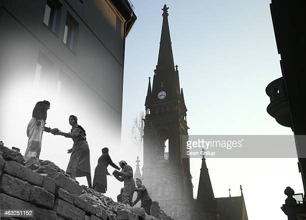 This digital composite image shows women in 1946 carrying bricks outside the Martin Luther church in a neighborhood still wrecked from the February...