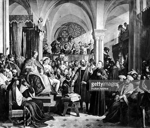 Martin Luther faces Emperor Karl V at the Diet of Worms April 1521 Luther had been summoned there to recant his books but refused to do so unless he...