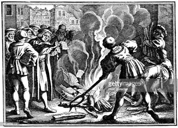 Martin Luther German Protestant reformer burning the Papal Bull excommunicating him Wittenberg 1520