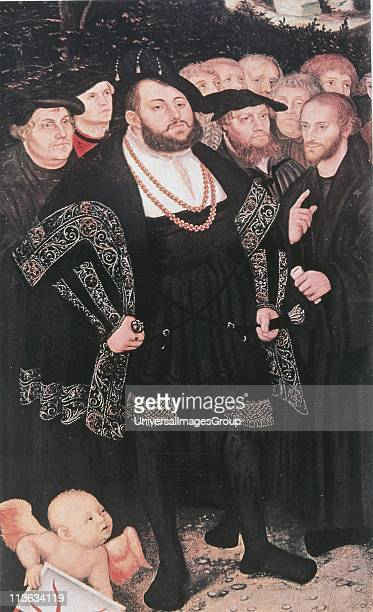 Martin Luther German Protestant reformer left with John Oecolampadius John Frederick the Magnanimous Elector of Ernestine Saxony Huldriech Zwingli...