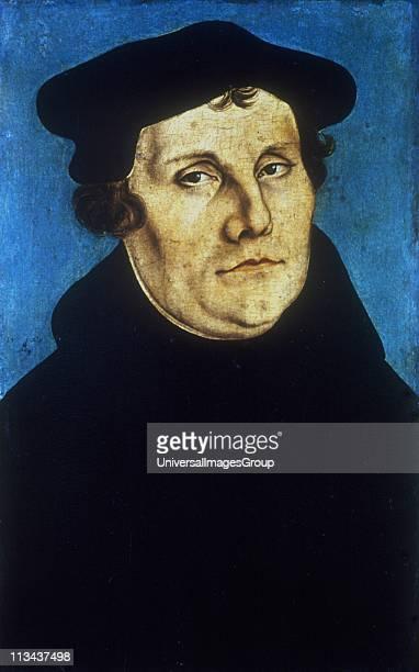 Martin Luther German Protestant reformer. Portrait by Lucas Cranach the Elder .