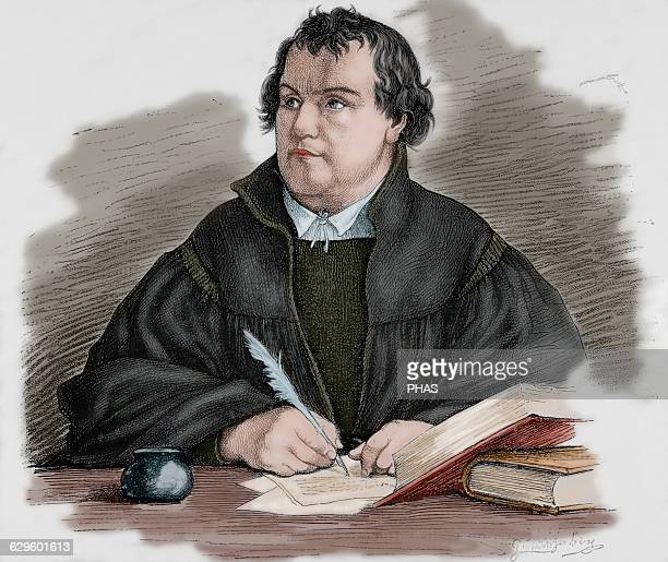 Martin Luther German reformer Engraving by G Spangerberg in Germania 1882 Colored