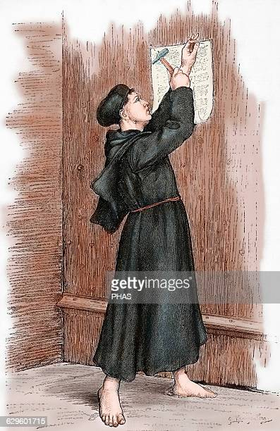 Martin Luther German reformer Luther hanging his 95 theses in Wittenberg 1517 Engraving in Germania 1882 Colored