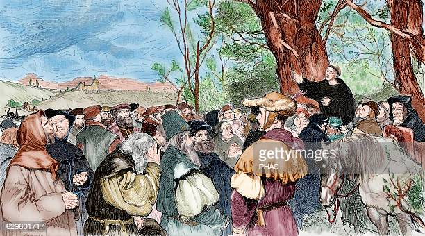 Martin Luther German reformer Luther preaching to the crowd in Mora Engraving by A Sigismund in Germania 1882 Colored