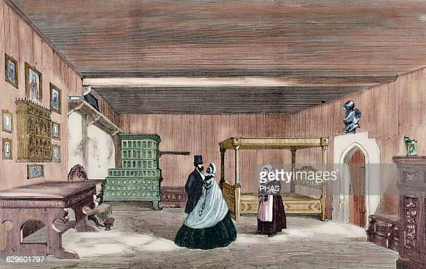 Martin Luther German reformer Luther's Room in Wartburg Castle near Eisenach The Universe Illustrated 1862 Colored engraving
