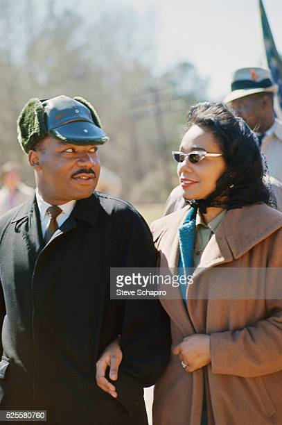 Martin Luther King and wife Coretta Scott King leading march from Selma to Montgomery to protest lack of voting rights for African Americans