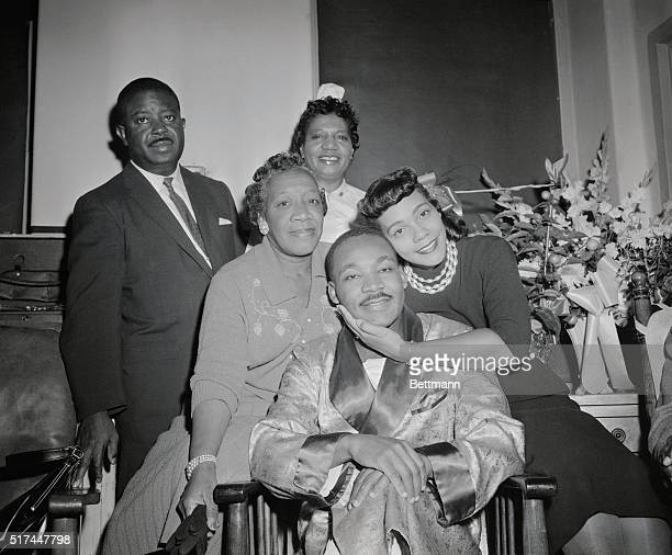Martin Luther King comforted by his wife in Harlem hospital after he was stabbed in the chest