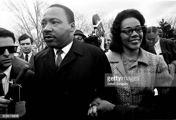 Martin Luther King holds hands with his wife Coretta Scott King as they embark on their 5day march from Selma to Montgomery