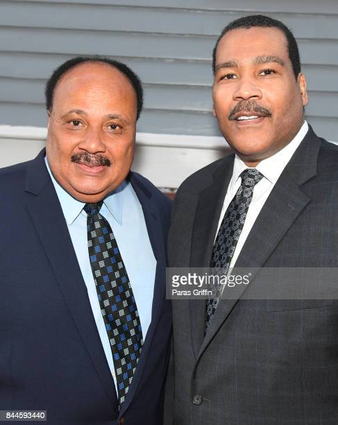 Martin Luther King III and Dexter Scott King at Dr Christine King Farris 90th Birthday Celebration at King Family Birth Home Historic Site on...