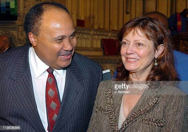 Martin Luther King III and Susan Sarandon during The Realizing the Dream Martin Luther King Jr Tribute January 15 2006 at Riverside Church in New...