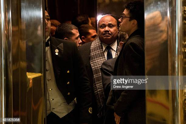Martin Luther King III gets into the elevator as he arrives at Trump Tower January 16 2017 in New York City Trump will be inaugurated as the next US...