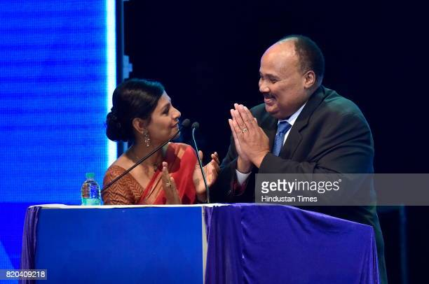 Martin Luther King III grandson of Martin Luther King with actor Nandita Das during Dr B R Ambedkar International Conference 2017 at GKVK campus on...