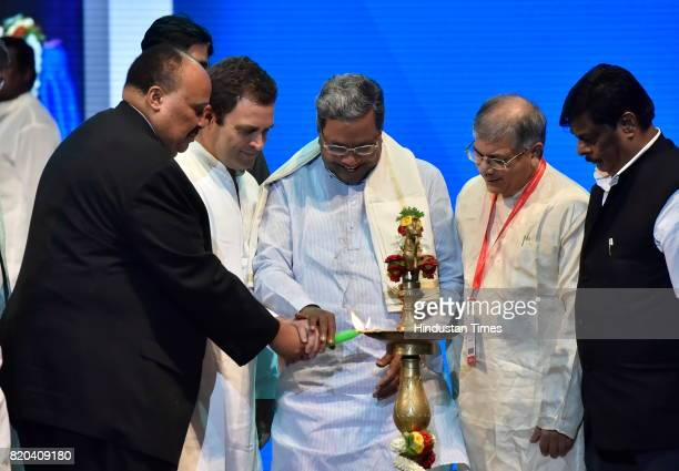 Martin Luther King III Rahul Gandhi Karnataka Chief Minister Siddaramaiah and Prakash Ambedkar grandson of Dr BR Ambedkar inaugurate the Dr B R...