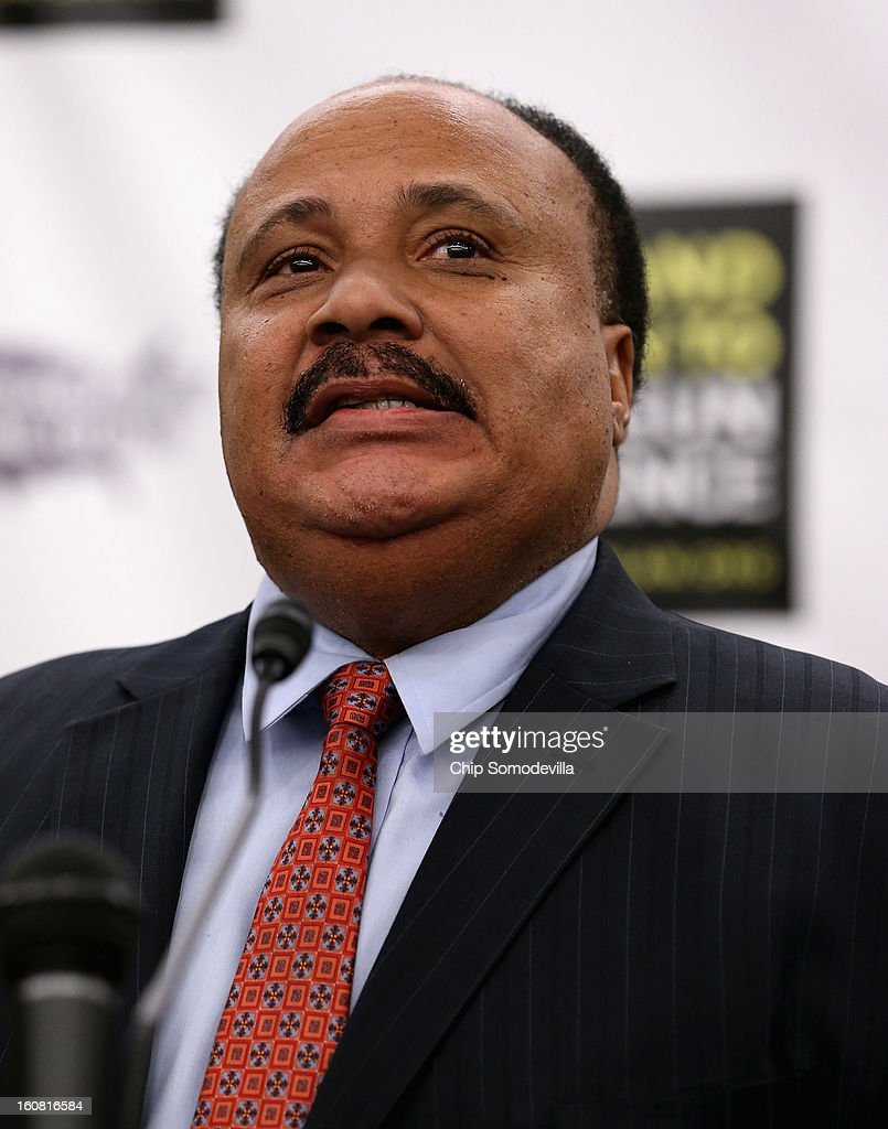 Martin Luther King III, son of slain civil rights leader Martin Luther King, Jr., speaks during a news conference hosted by the Mayors Against Illegal Guns and the Law Center to Prevent Gun Violence at the U.S. Capitol February 6, 2013 in Washington, DC. The artists, activists and politicians called for manditory background check on all gun purchases among other restrictions.