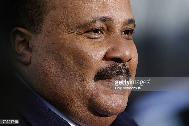 Martin Luther King III son of slain civil rights leader Martin Luther King Jr speaks to reporters before the groundbreaking ceremony of the Martin...