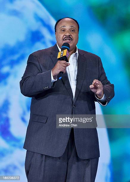 Martin Luther King III speaking on We Day at Rogers Arena on October 18 2013 in Vancouver Canada