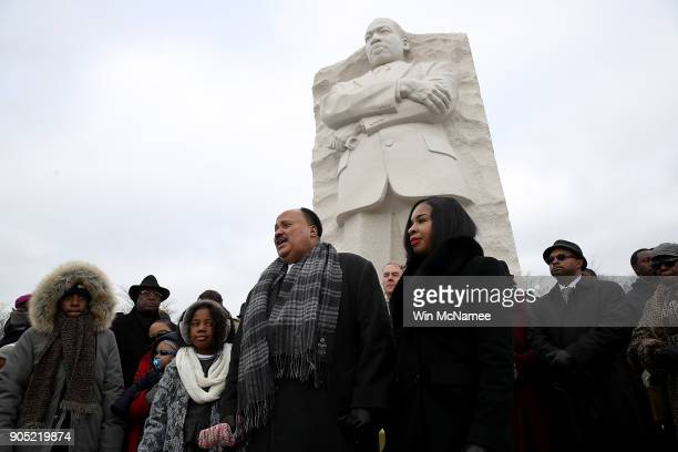 Martin Luther King III speaks in front of the Martin Luther King Jr Memorial on Martin Luther King Day January 15 2018 in Washington DC Martin Luther...