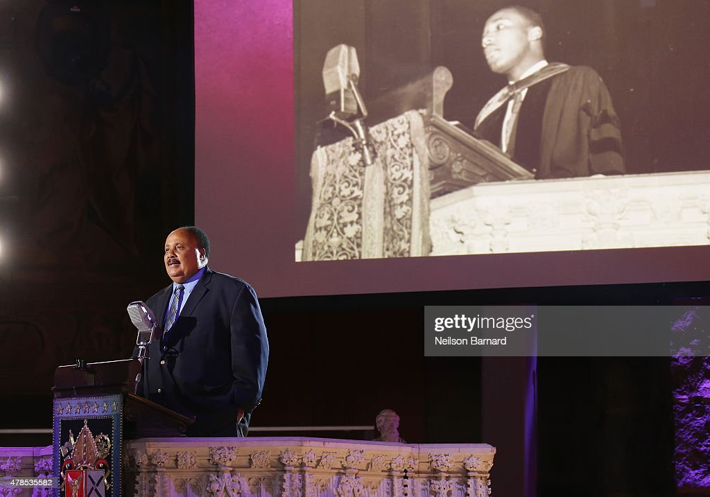 Martin Luther King III speaks onstage at Logo's 'Trailblazer Honors' 2015 at the Cathedral of St. John the Divine on June 25, 2015 in New York City.