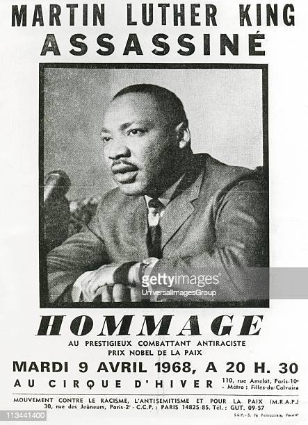 Martin Luther King Jnr American Baptist minster and black civil rights leader Awarded Nobel Peace Prize 1964 Poster by the Movement Against Racism...