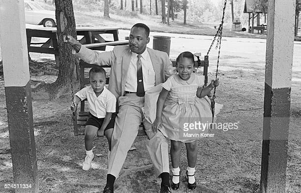 Martin Luther King Jr and Two of His Children