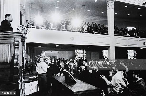 Martin Luther King Jr delivers a speech opposing the Vietnam War to the Clergy And Laymen Concerned About Vietnam in Washington DC February 1968