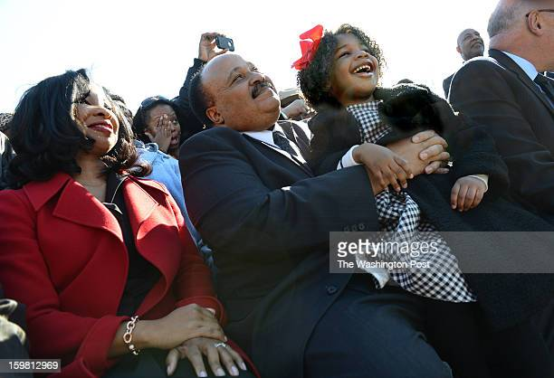 Martin Luther King Jr III wife Andrea Waters and daughter Yolanda Renee King at the WreathLaying Ceremony at the Martin Luther King Jr Memorial in...