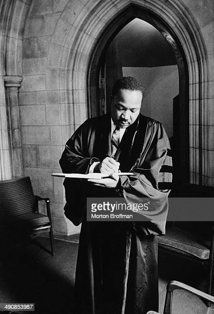 Martin Luther King Jr in the offices of the National Cathedral in Washington DC 31st March 1968 He was assassinated four days later