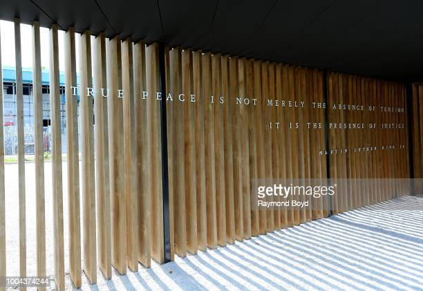 Martin Luther King Jr quote at entranceway to The National Memorial For Peace And Justice in Montgomery Alabama on July 6 2018