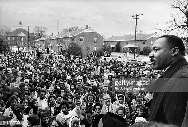 Martin Luther King Jr speaks at a large rally of marchers in Selma Alabama waiting to begin a march to Montgomery during the SelmaMontgomery Civil...