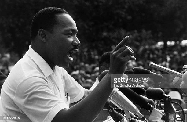 Martin Luther King Jr speaks to a crowd at the March Against Fear rally on the steps of the Mississippi State Capitol The march began in Memphis...