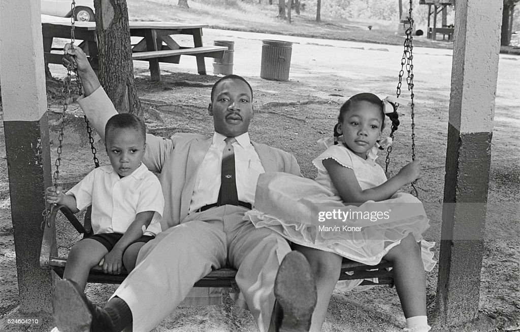 Martin Luther King Jr. with son Martin III and daughter ...