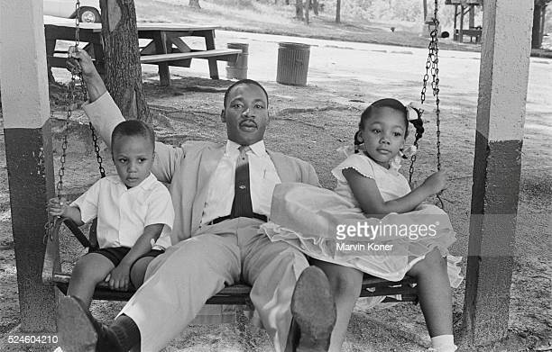 Martin Luther King Jr with son Martin III and daughter Yolanda