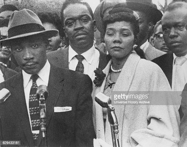 Martin Luther King Jr with Wife Coretta During Bus Boycott Montgomery Alabama USA March 1956
