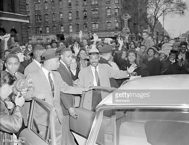 Martin Luther King leaving Harlem Hospital with his wife Coretta