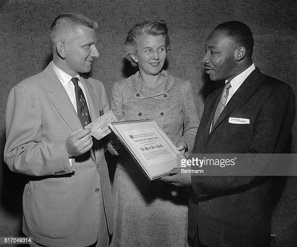Martin Luther King who attained nationwide prominence as the leader of the Montgomery Alabama bus strike is honored for his role in race relations by...