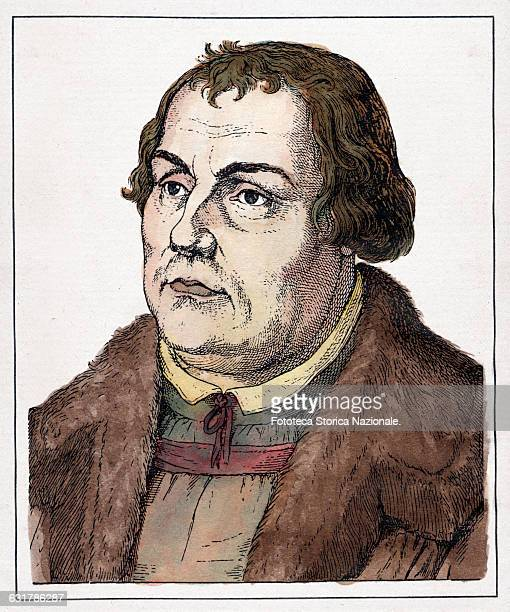 Martin Luther theologian founder of the Protestant Reformation of the Church Portrait engraving watercolored Germany approx 1530