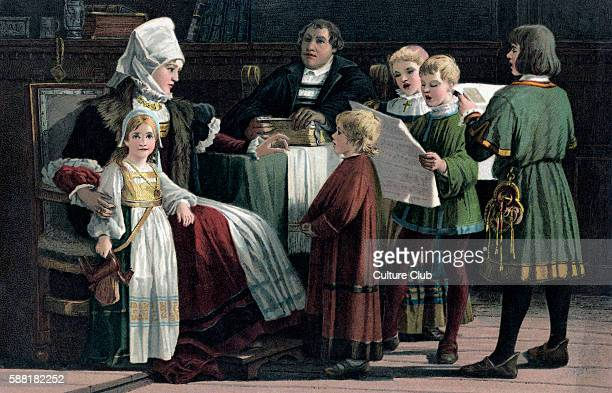 Martin Luther with his family German theologian religious reformer 10 November 1483 18 February 1546 By Paul Poetzsch Reformation Lutheran Protestant...