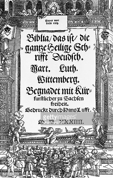 Martin Luther*1011148318021546German theologian Cover page of the first print of the complete translation of the Bible into German language by Martin...