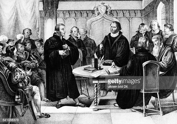 Martin Luther*1011148318021546German theologianColloquy about religion at Marburg in October 1529 on the left the Swiss theologian Ulrich Zwingli on...