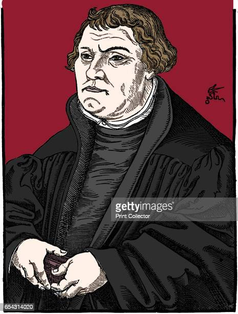 Martin Luthor German Protestant reformer, 1546. After woodcut by Cranach. . Artist Unknown.