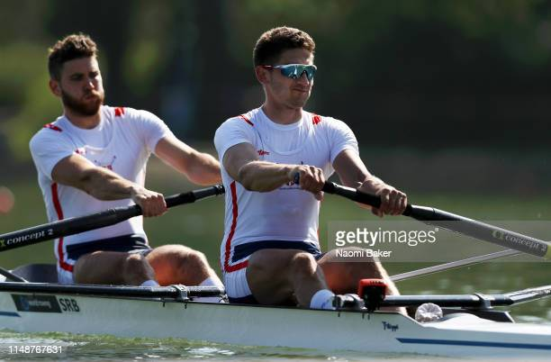 Martin Mackovic and Milos Vasic of Serbia in action during Day One of World Rowing Cup 1 on May 10 2019 in Plovdiv Bulgaria