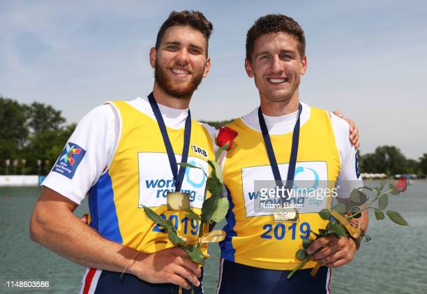 Martin Mackovic and Milos Vasic of Serbia pose for a photo after winning the Gold Medal in the Men's Pair final during Day Three of the World Rowing...
