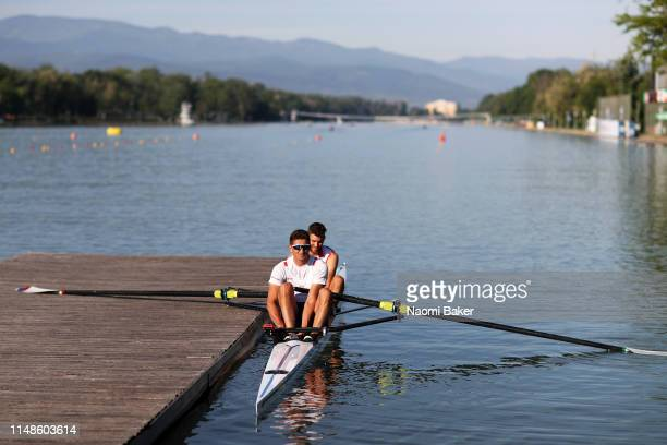 Martin Mackovic and Milos Vasic of Serbia train in the morning during Day Three of the World Rowing Cup 1 on May 12 2019 in Plovdiv Bulgaria